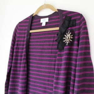 LOFT purple striped sweater